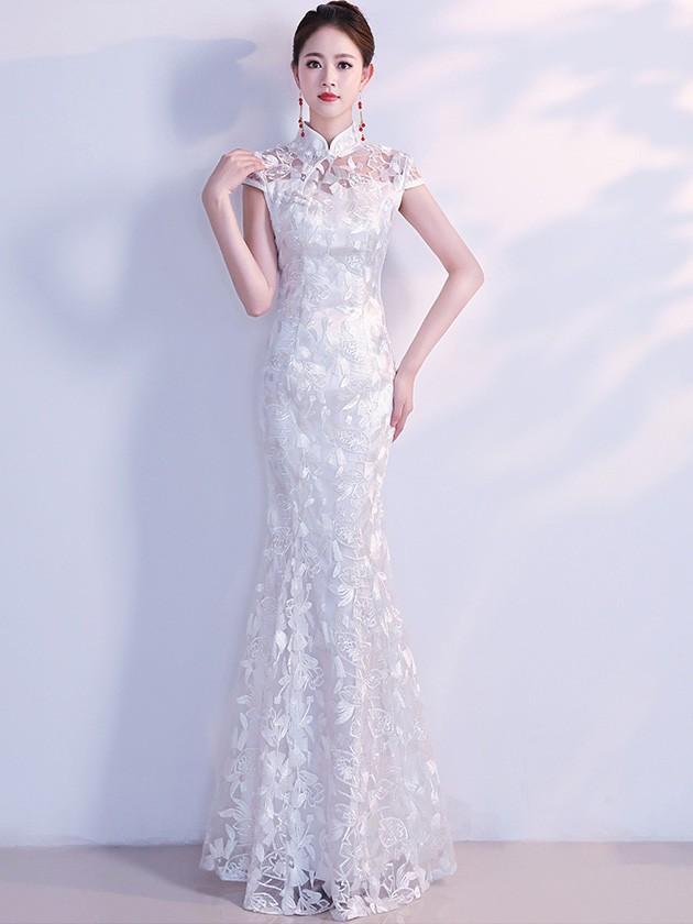 878c78f37 White Lace Fishtail Qipao / Cheongsam Wedding Dress - CozyLadyWear