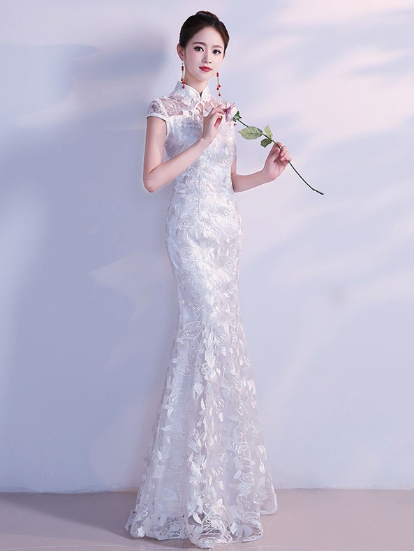 White Lace Fishtail Qipao / Cheongsam Wedding Dress