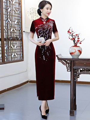 Burgundy Velvet Long Beaded Qipao / Cheongsam Dress