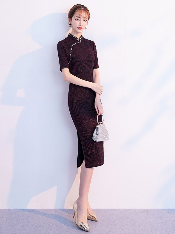 Navy Stretchy Velvet Midi Qipao / Cheongsam Dress