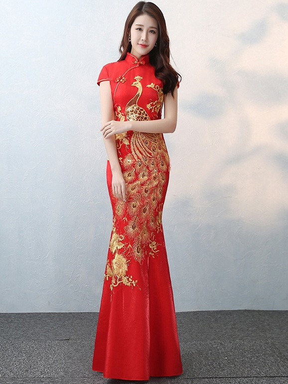 5fbbea3ebfcbb Gold Phoenix Fishtail Qipao / Cheongsam Wedding Dress - cozyladywear
