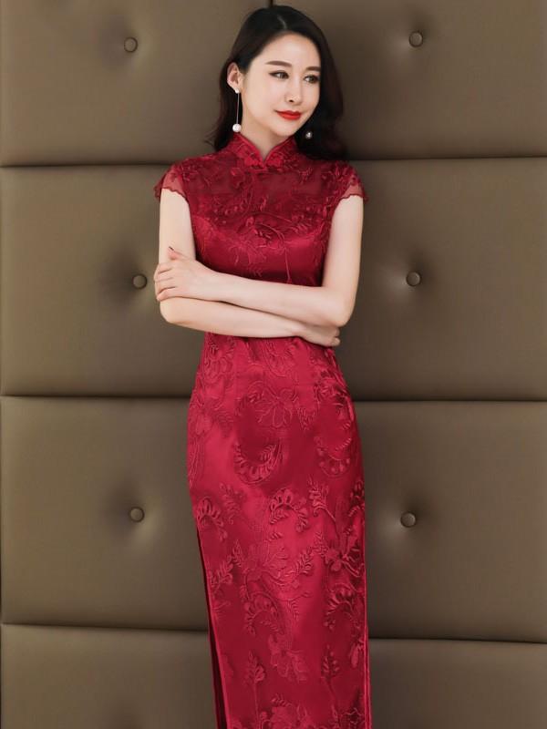 Wine Red Lace Long Qipao / Cheongsam Wedding Dress