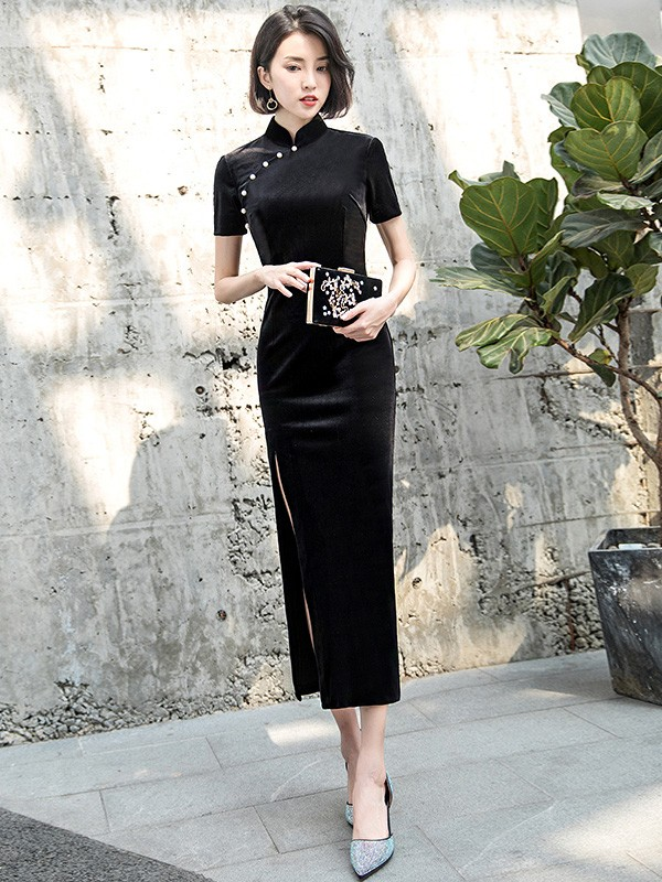 43683feae Black Velvet Qipao / Cheongsam Dress with Thigh Split. Loading zoom.  mouseover ...