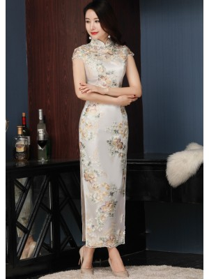 Embroidered Long Qipao / Cheongsam Evening Dress