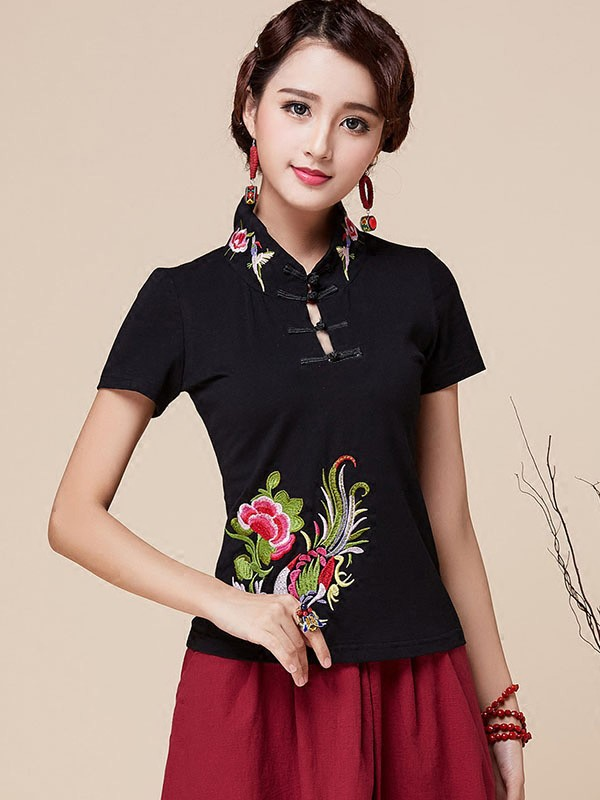 Black Stretch Embroidered Qipao / Cheongsam Blouse Top