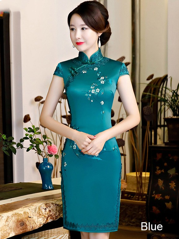 Embroidered Midi Modern Qipao / Cheongsam Party Dress