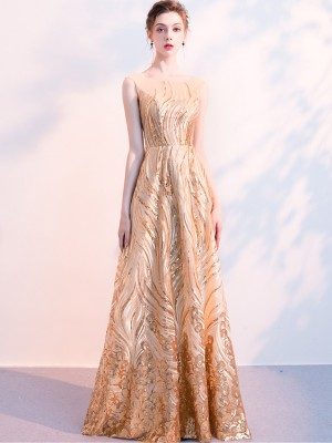 Golden Sequined Floor Length Formal Dress