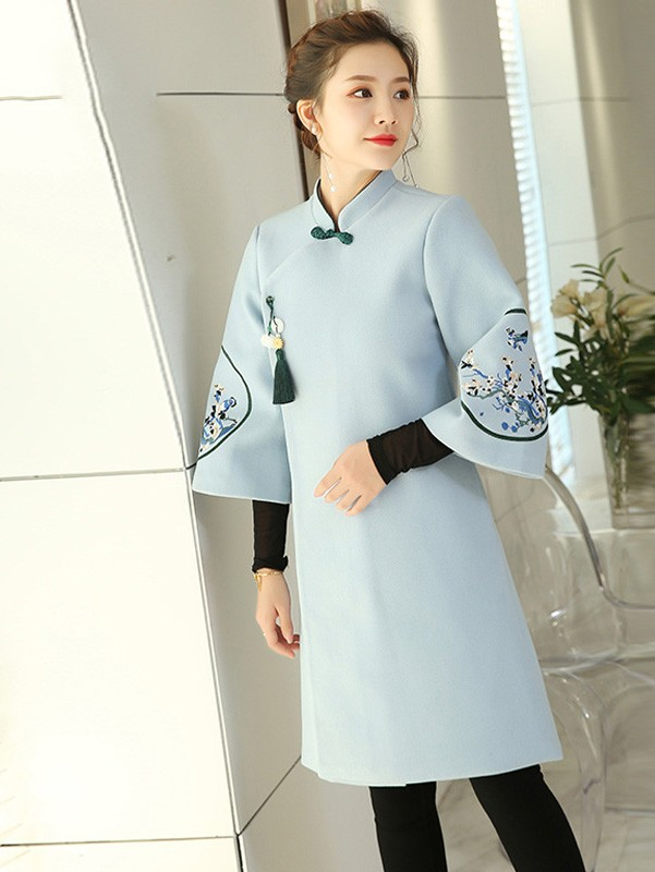 Embroidered Wool Blend Women Chinese Tang Coat