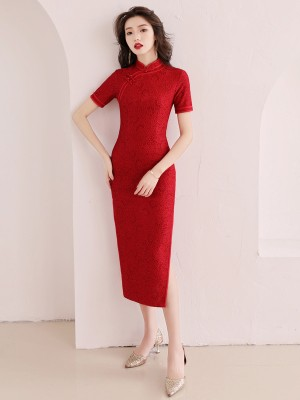 Red Lace Long Qipao / Cheongsam Party Dress with Slit
