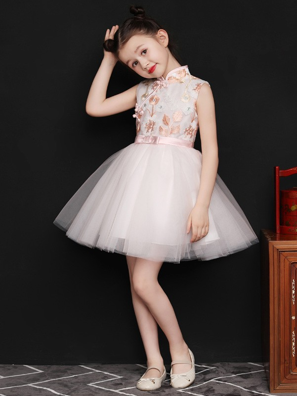 Champagne Embroidered Flower Girl Tulle Qipao / Cheongsam Dress