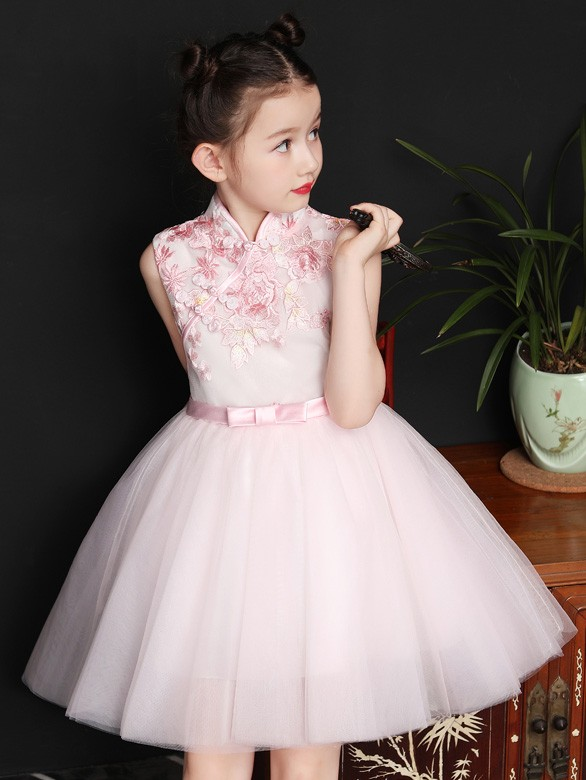 Pink Embroidered Flower Girl Tulle Qipao / Cheongsam Dress