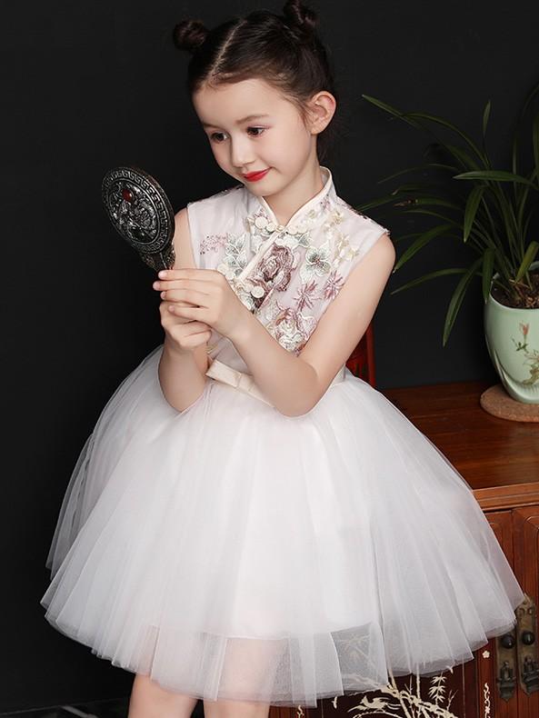 White Embroidered Flower Girl Qipao / Cheongsam Dress