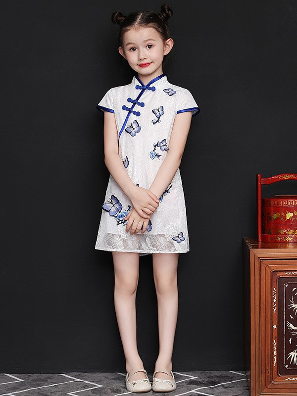 White Lace Kids Girls Qipao / Cheongsam Dress with Embroidered Butterly