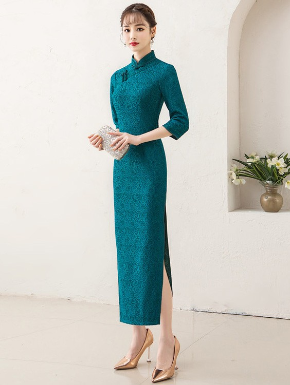 Green Lace Shimmering Long Qipao / Cheongsam Party Dress