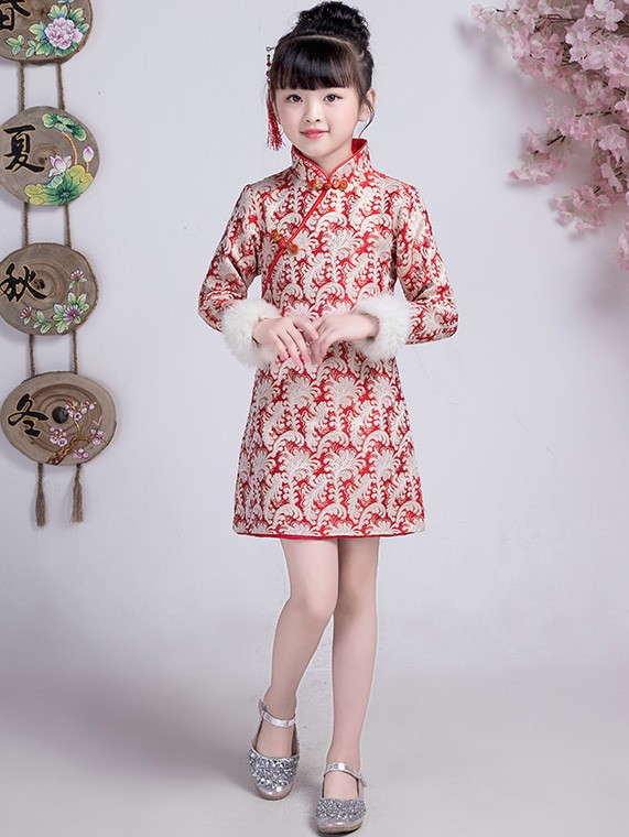 Red Woven Floral Kids Girls Qipao / Cheongsam Winter Dress