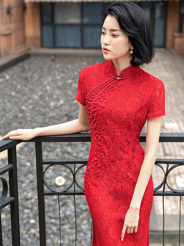 Red Lace Long Split Qipao / Cheongsam Dress with Beads