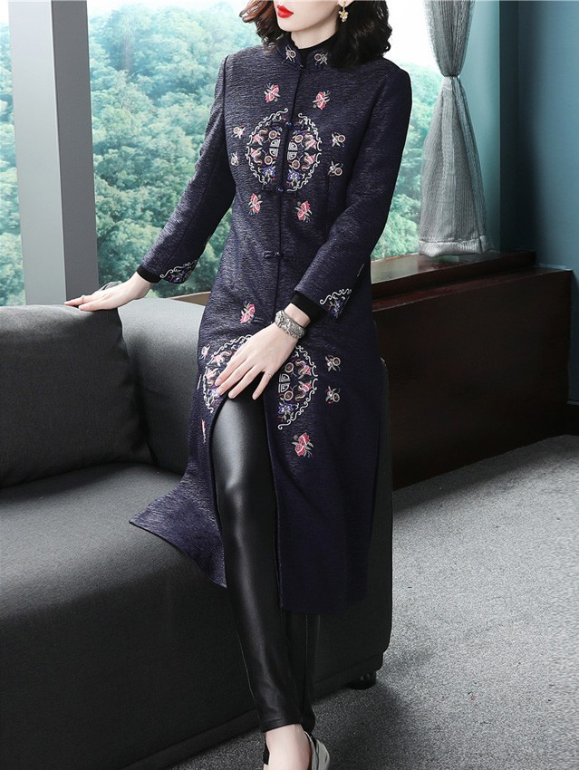 Blue Women's Long Embroidered Chinese Tang Coat