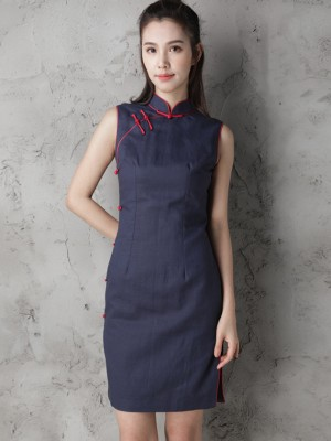 Custom Tailored Navy Blue Modern Qipao / Cheongsam Dress