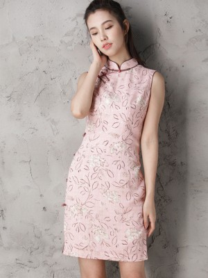Custom Tailored Pink Floral Modern Qipao / Cheongsam Dress
