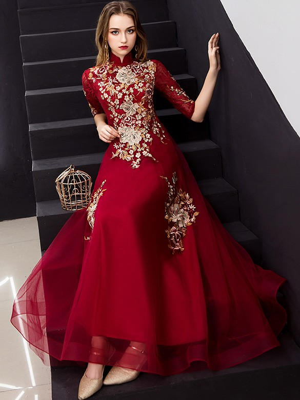 Red Embroidered A-Line Long Qipao / Cheongsam Dress