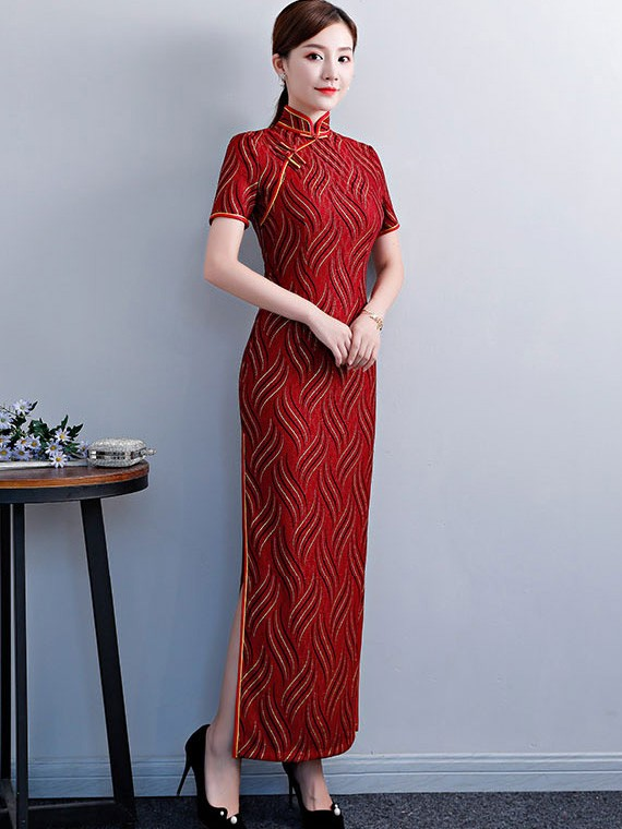 Gold Striped Red Long Qipao / Cheongsam Evening Dress