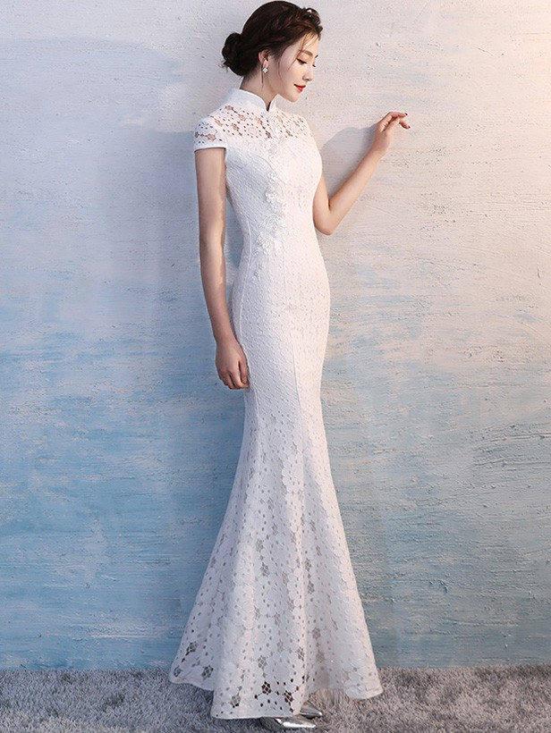White Long Fishtail Qipao / Cheongsam Wedding Dress
