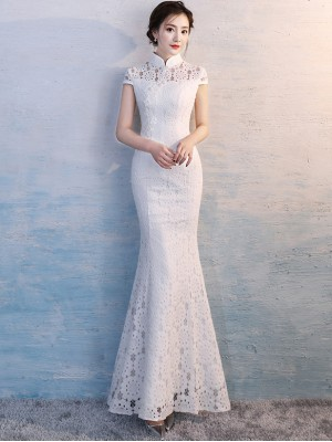 White Long Fishtail Qipao / Cheongsam Wedding Dress with Appliques