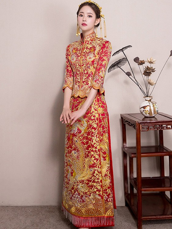 Beaded Wedding Qun Kwa with Dragon & Phoenix Embroidery
