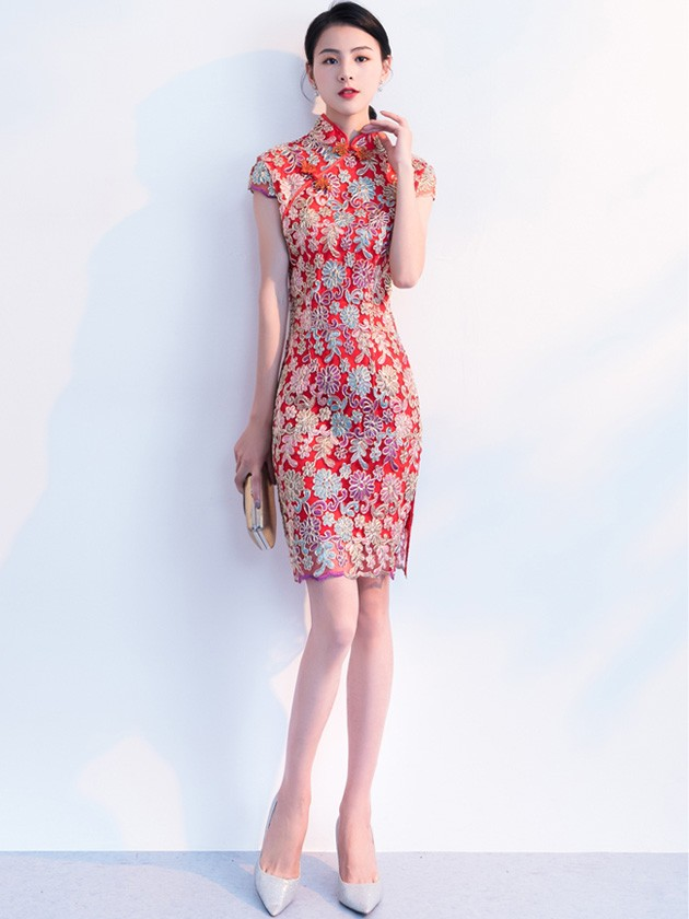 Sequined Floral A-Line Short Qipao / Cheongsam Party Dress
