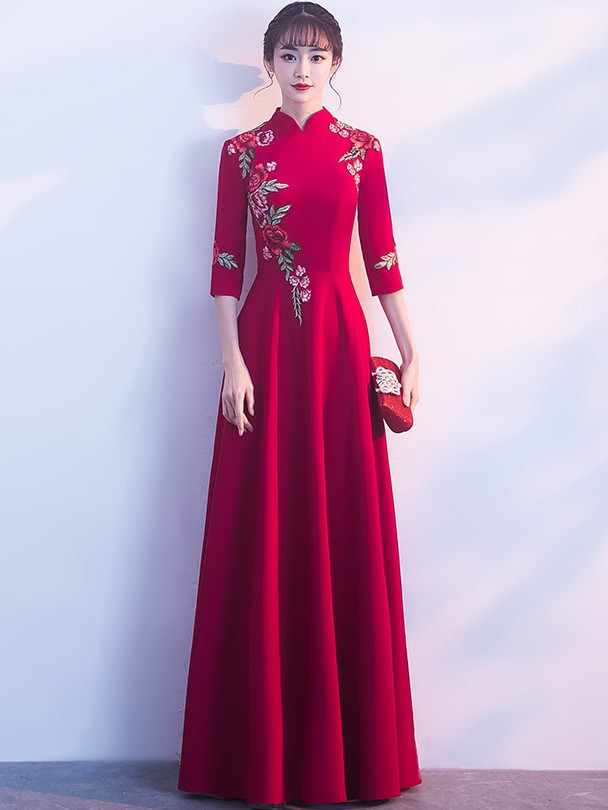 7e851aaafc1 Floor Length Wine Red Embroidered Qipao  Cheongsam Dress - CozyLadyWear