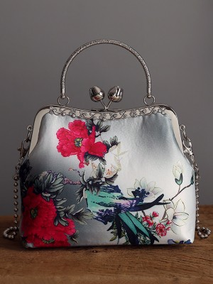 Floral Printing Chain Top Handle Clutch Bag