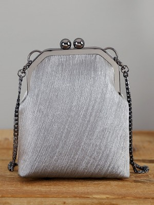 Gray Chain Clutch Wallet Bag