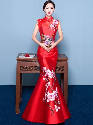Custom Tailored Fishtail Qipao / Cheongsam Dress with Floral & Phoenix Embroidery