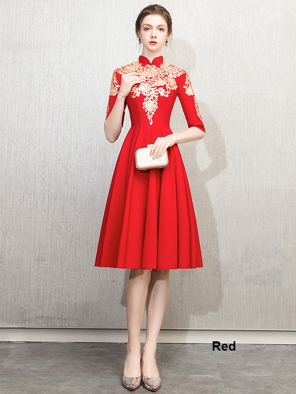 Red Sequined Embroidered A Line Qipao / Cheongsam Dress