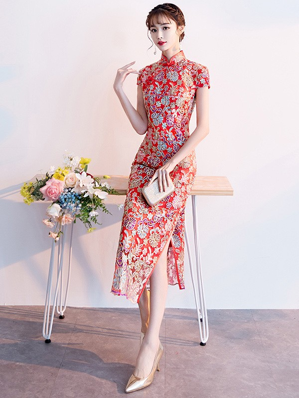 Red Floral Long Qipao / Cheongsam Wedding Dress
