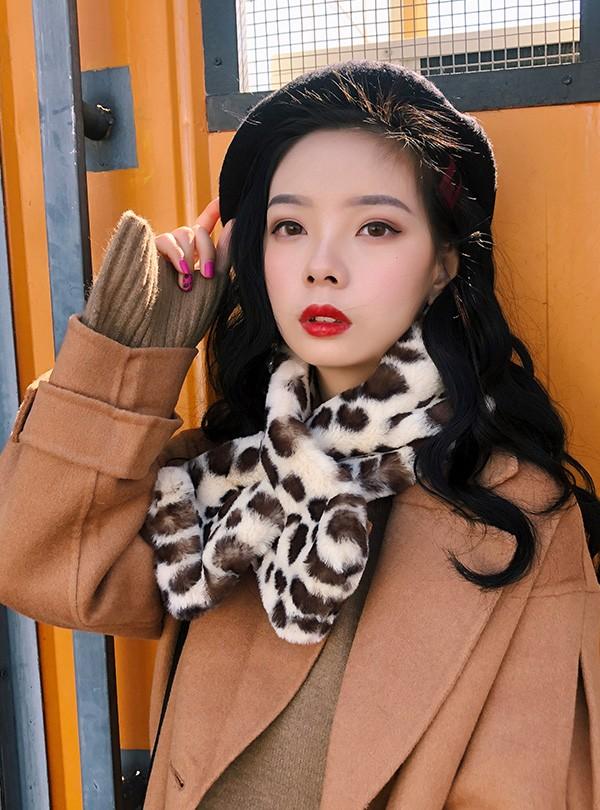 Faux Leopard Fur Women's Scarf