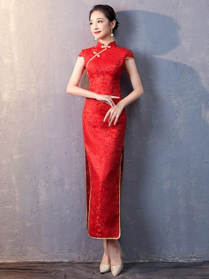 Red Woven Floral Long Qipao / Cheongsam Wedding Dress