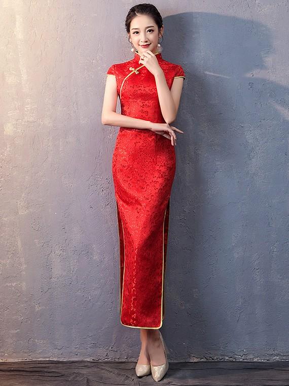 Red Woven Floral Long Qipao / Cheongsam Wedding Dress