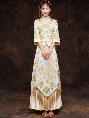 Champagne Wedding Qun Kwa with Floral & Phoenix Embroidery