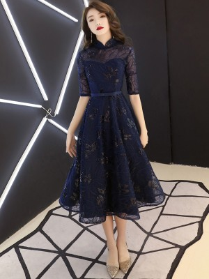 Navy Blue Sequined Tea Length Qipao / Cheongsam Party Dress