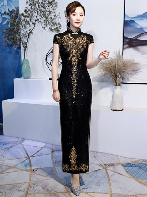 Black Sequined Long Qipao / Cheongsam Party Dress