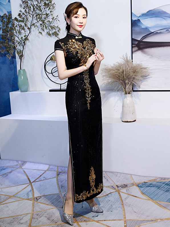Black Sequined Long Qipao / Cheongsam Evening Dress