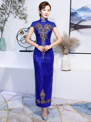 Blue Sequined Wedding Guest Long Qipao / Cheongsam Evening Dress