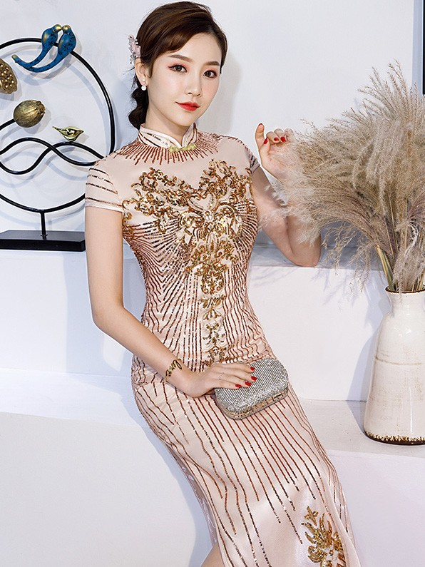Pink Sequined Wedding Guest Long Qipao / Cheongsam Wedding Dress