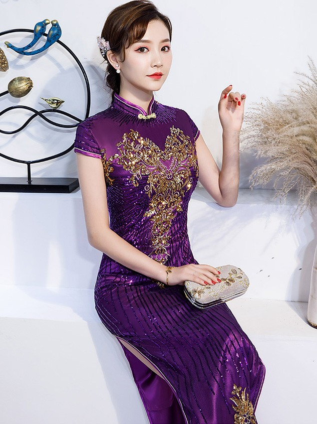 Purple Sequined Bride Mother Long Qipao / Cheongsam Evening Dress