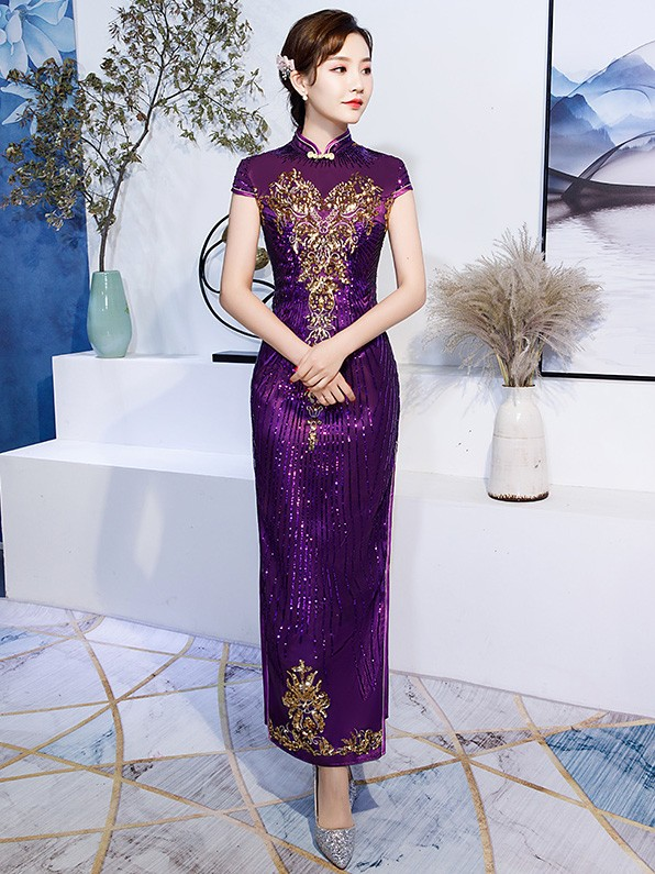 428b3d55a629 Purple Sequined Bride Mother Long Qipao / Cheongsam Evening Dress. Loading  zoom