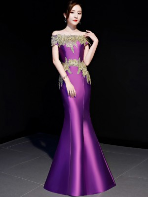 Purple Off Shoulder Fishtail Qipao / Cheongsam Party Dress