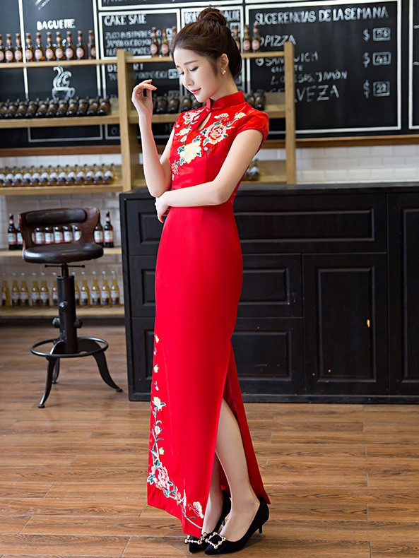 Mandarin Collar Wedding Cheongsam / QiPao Dress