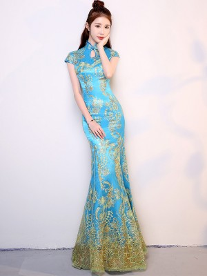 Red Blue Sequined Mermaid Chinese Qipao / Cheongsam Dress