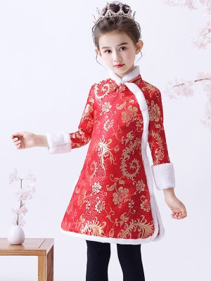 Red Floral Woven Kids Girl's Qipao / Cheongsam Winter Dress